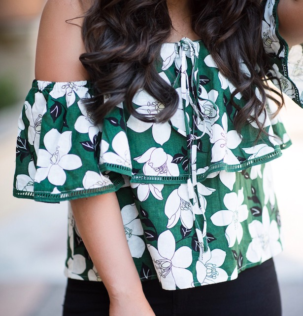 nordstrom green floral top